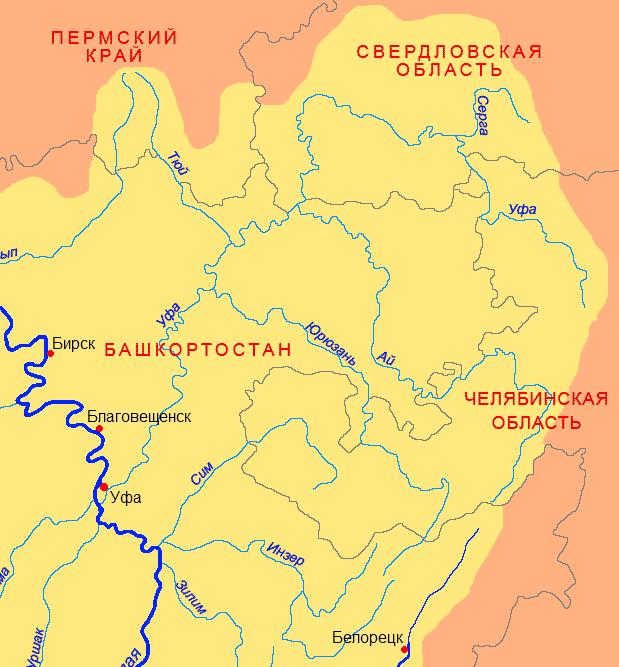 Река Ай на карте Урала
