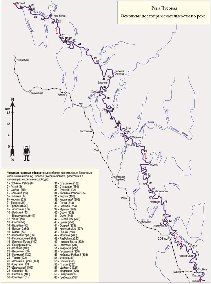 Река Чусовая. Основные остановки, достопримечательности по маршруту реки