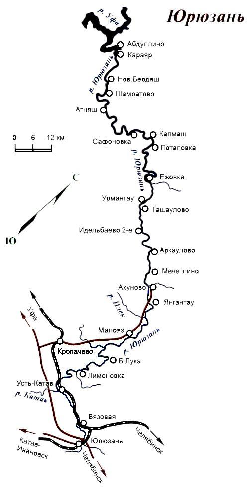 Река Юрюзань на карте